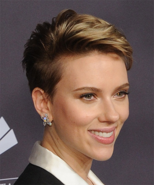 Scarlett Johansson Chic Short Straight Pixie Hairstyle - Dark Blonde - side view