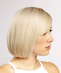 Short Straight Formal Bob with Side Swept Bangs - Light Blonde - side view