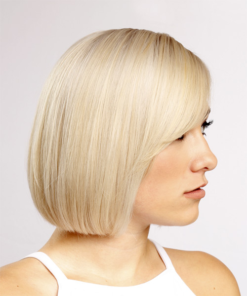 Short Straight Formal Bob Hairstyle with Side Swept Bangs - Light Blonde Hair Color - side view
