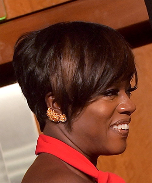 Viola Davis Short Straight Formal Pixie with Side Swept Bangs - Dark Brunette - side view