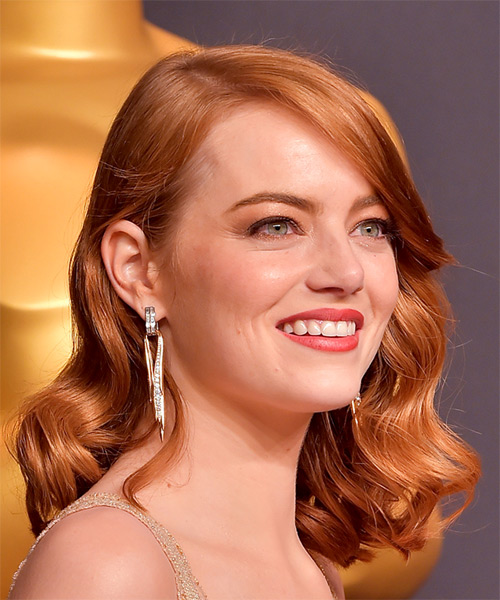 Emma Stone Medium Wavy Formal Bob Hairstyle Copper Red