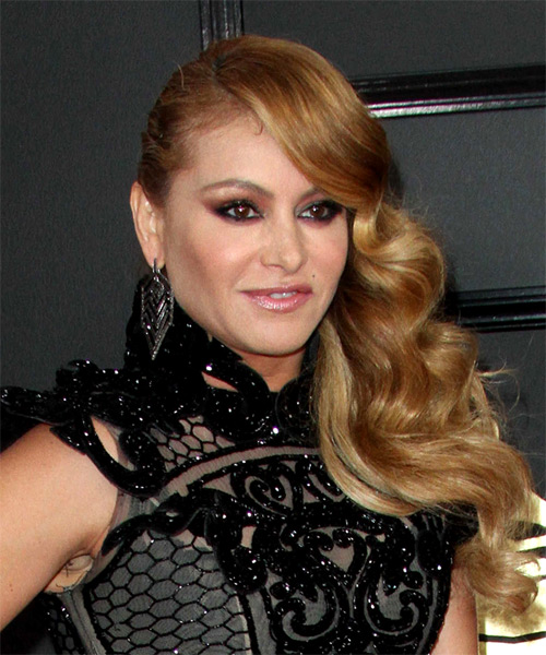 Paulina Rubio Long Curly Formal Hairstyle - Dark Blonde - side view