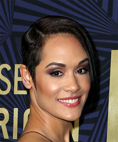 Grace Gealey Short Straight Casual Asymmetrical Hairstyle - Black Hair Color - side view