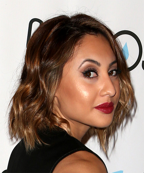 Francia Raisa Short Wavy Casual Bob Hairstyle - Medium Brunette Hair Color - side view