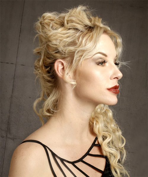 Long Curly Formal Half Up Hairstyle - Light Blonde Hair Color - side view