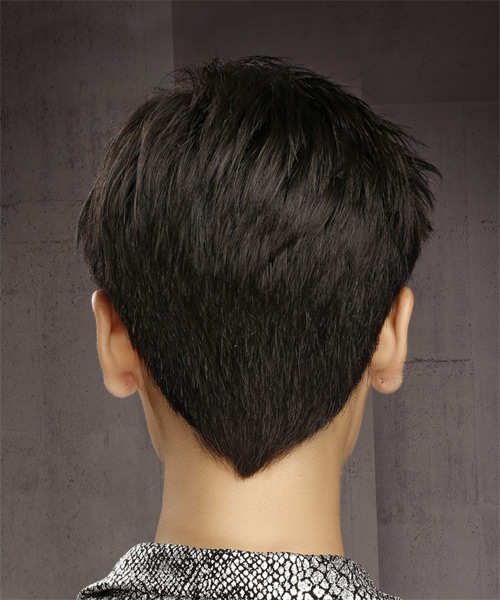 Short Straight Formal Pixie with Asymmetrical Bangs - Dark Brunette - side view