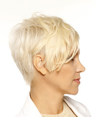 Short Straight Casual Pixie with Side Swept Bangs - Light Blonde (Platinum) - side view