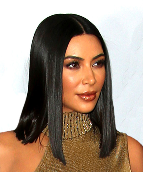 Kim Kardashian Medium Straight Formal Bob Hairstyle - Black Hair Color - side view