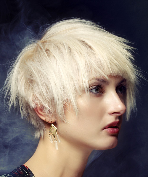 Short Straight Casual Shag Hairstyle with Blunt Cut Bangs - Light Blonde Hair Color - side view