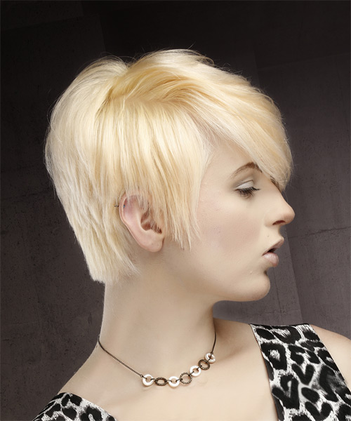 Short Straight Casual Pixie Hairstyle with Side Swept Bangs - Light Blonde (Platinum) Hair Color - side view