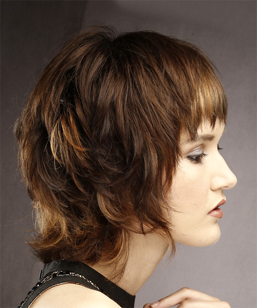 Short Straight Casual Shag Hairstyle with Layered Bangs - Medium Brunette Hair Color - side view