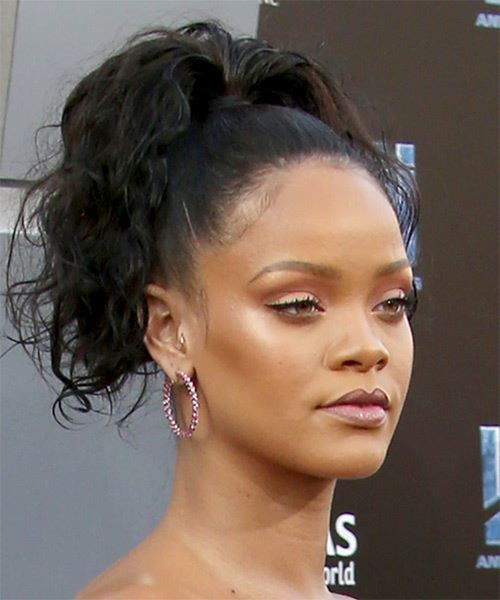 Rihanna Long Curly Black Updo with a high ponytail