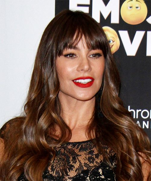 Sofia Vergara Long Wavy Casual Hairstyle with Layered Bangs - Medium Brunette Hair Color - side view