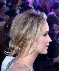 Jennifer Lawrence Medium Straight Casual Bob Updo - Light Blonde - side view