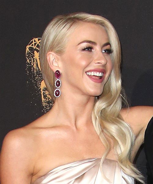 Julianne Hough Long Wavy Formal Hairstyle - Light Blonde (Ash) Hair Color - side view