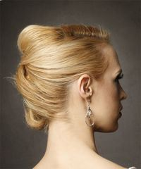 Long Straight Formal Wedding Updo with Side Swept Bangs - Light Blonde (Golden) - side view