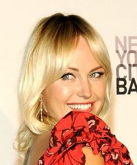 Malin Akerman Medium Straight Casual  with Layered Bangs - Light Blonde - side view