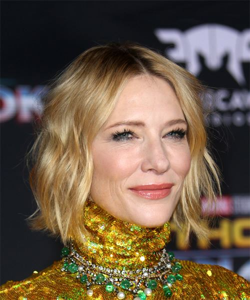 Cate Blanchett Short Wavy Casual Bob Hairstyle - Light Blonde Hair Color - side view