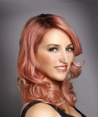 Medium Wavy Formal  with Side Swept Bangs - Pink - side view