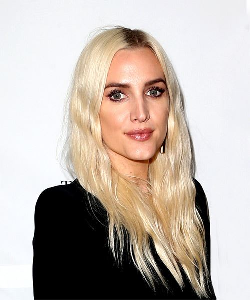 Ashlee Simpson Long Wavy Casual Hairstyle - Light Blonde Hair Color - side view