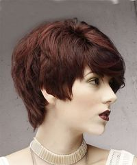 Short Straight Formal Pixie with Side Swept Bangs - Dark Red - side view