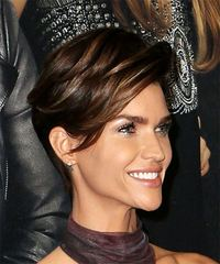 Ruby Rose Short Straight Casual Pixie with Side Swept Bangs - Dark Brunette - side view