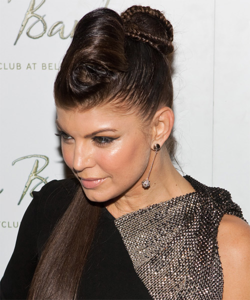 Fergie Long Straight Alternative Updo Hairstyle - side view