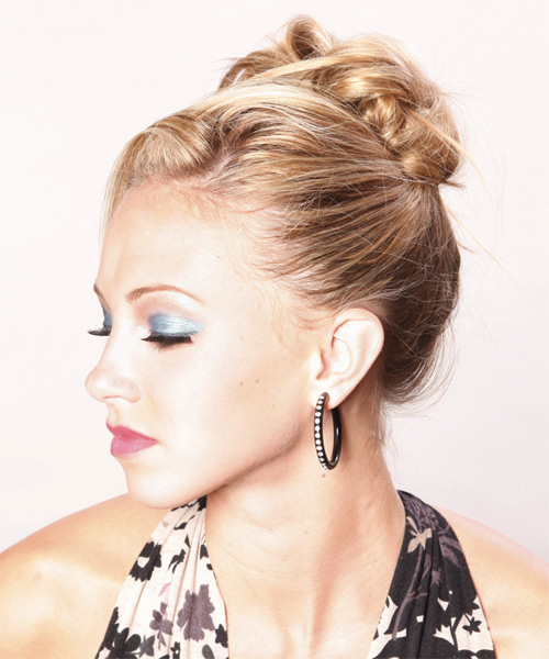 Updo Long Straight Casual  - Medium Blonde - side view