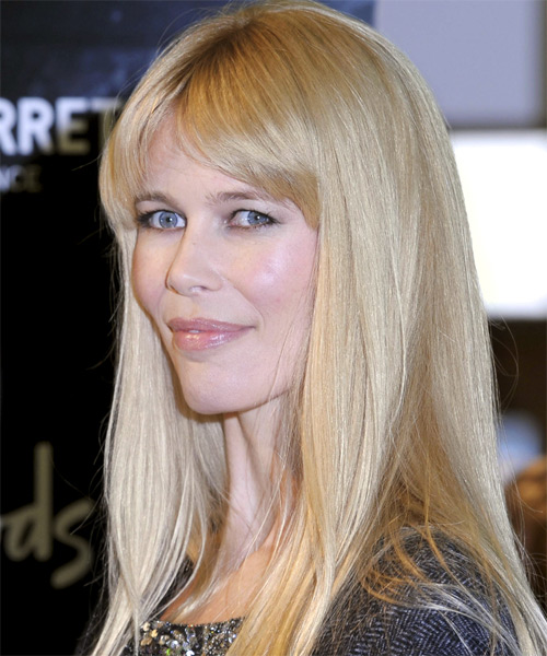 Claudia Schiffer Long Straight Hairstyle - side view