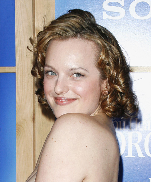Elisabeth Moss Medium Curly Formal  - side view