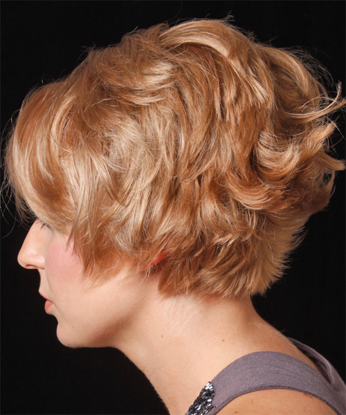 Short Wavy Casual Hairstyle with Layered Bangs - Medium Blonde (Strawberry) Hair Color - side view