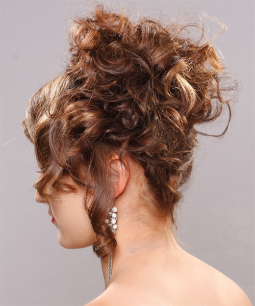 Updo Long Curly Formal  - Light Brunette - side view