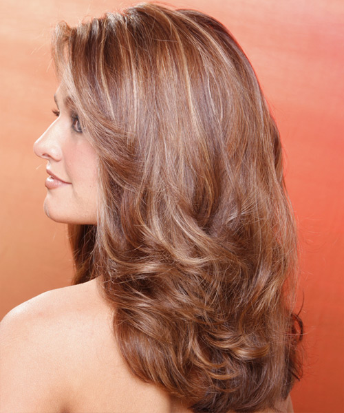 Long Wavy Formal Hairstyle - Light Brunette Hair Color - side view