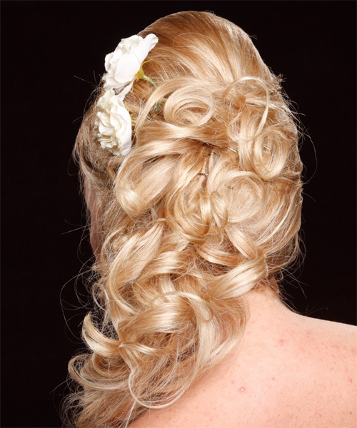 Curly Formal Half Up Hairstyle with Side Swept Bangs - Medium Blonde (Honey) Hair Color - side view