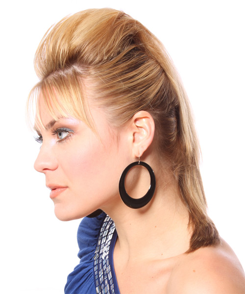 Casual Straight Half Up Hairstyle - Medium Blonde (Honey) - side view 1