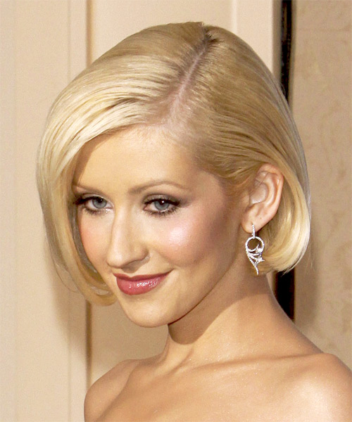 Christina Aguilera Medium Straight Formal Bob - side view