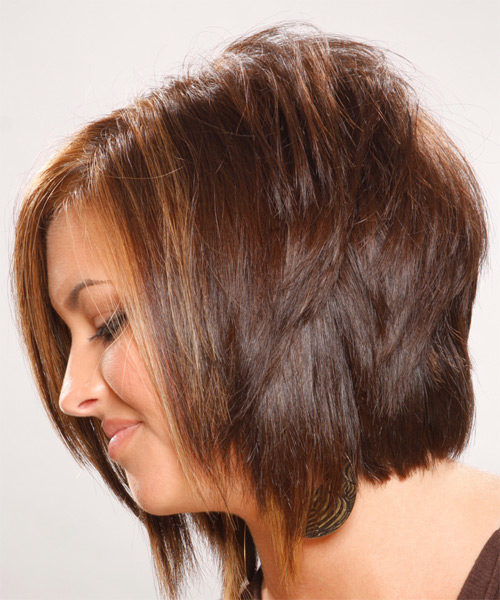 Medium Straight Formal Hairstyle - Light Brunette (Chocolate) - side view 1