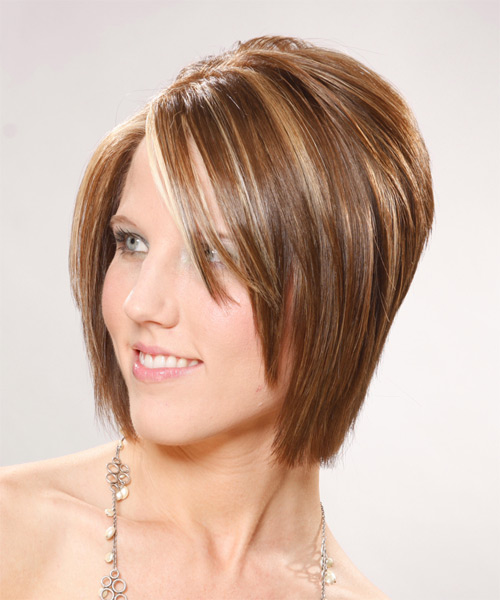 Medium Straight Formal Bob Hairstyle - Light Brunette (Caramel) Hair Color - side view