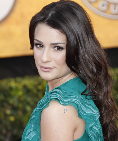 Lea Michele Long Wavy Formal Hairstyle - Medium Brunette (Chocolate) Hair Color - side view