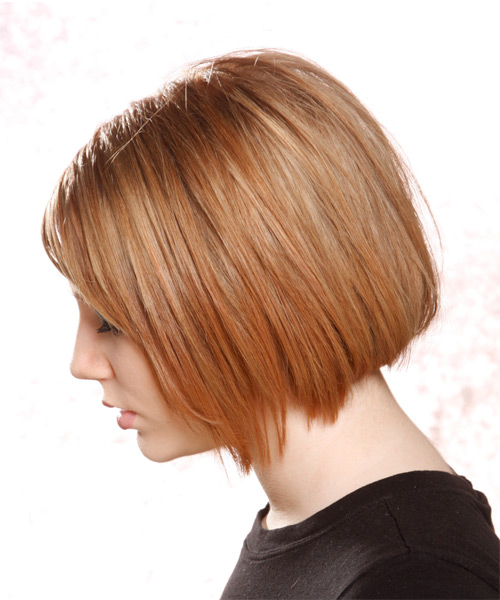 Medium Straight Casual Bob Hairstyle - Light Brunette (Copper) Hair Color - side view