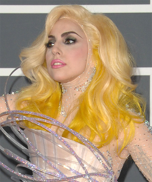 Lady GaGa Long Wavy Hairstyle - side view 1