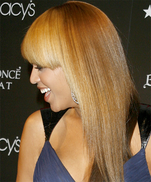 Beyonce Knowles Long Straight Hairstyle - Light Brunette (Golden) - side view 1