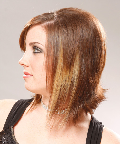 Medium Straight Formal Hairstyle with Side Swept Bangs - Light Brunette (Auburn) Hair Color - side view