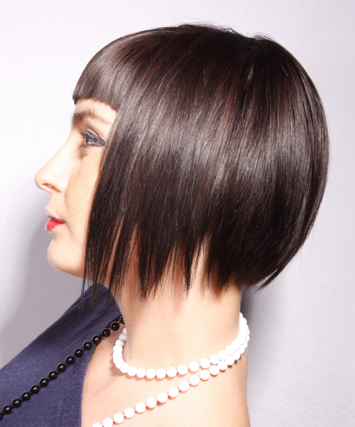 Short Straight Alternative Bob Hairstyle with Blunt Cut Bangs (Chocolate) - side view