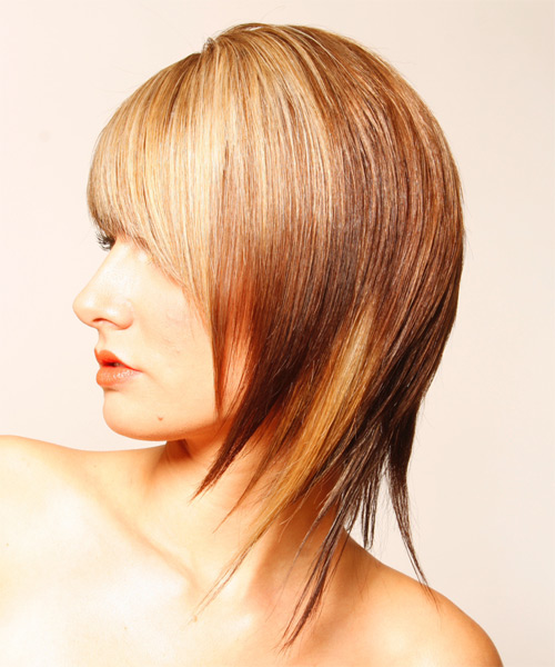Medium Straight Alternative Hairstyle - side view 1