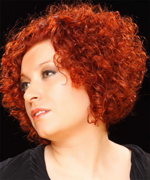 Short Curly Casual  - Medium Red - side view