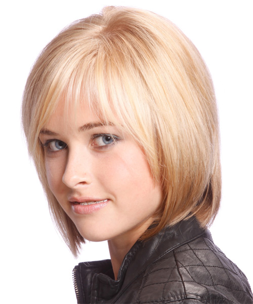 Medium Straight Casual Bob Hairstyle with Side Swept Bangs - Light Blonde (Strawberry) Hair Color - side view