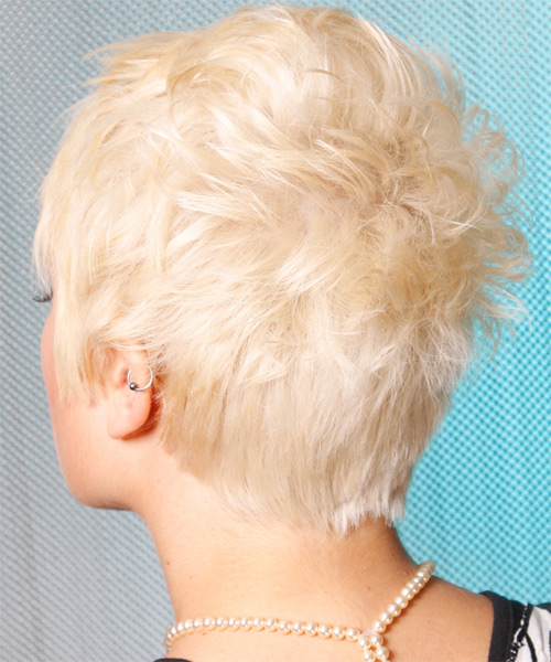Short Straight Alternative Hairstyle - Light Blonde (Platinum) Hair Color - side view