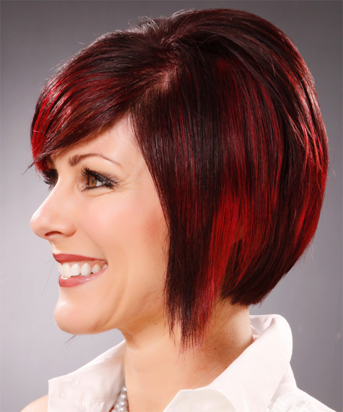 Medium Straight Alternative Hairstyle with Side Swept Bangs - Dark Red (Bright) Hair Color - side view