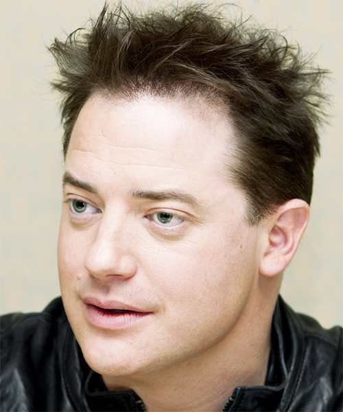 Brendan Fraser Short Straight Hairstyle - Medium Brunette (Ash) - side view 1